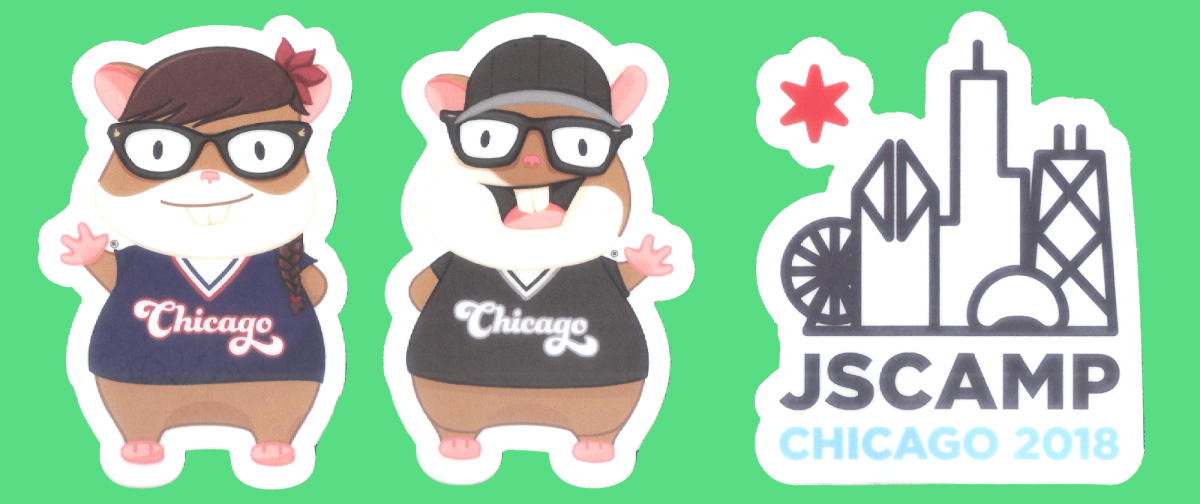 Stickers of Ember Mascots, Tomster and Zoey, and JSCamp conference