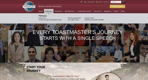 Step 1. Visit toastmasters.org and find the right link to visit Base Camp.