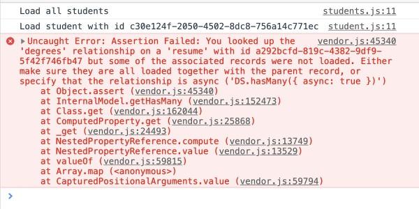 Ember Data Storefront provides a runtime error for missing data relationships.