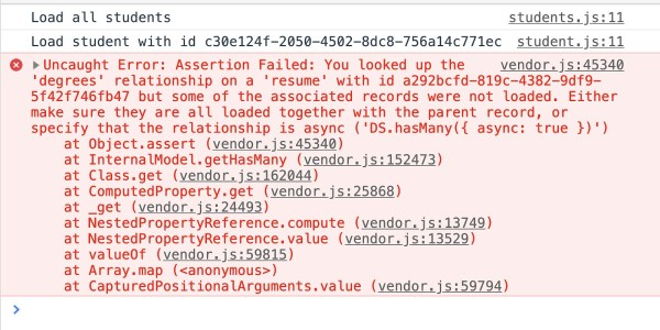 Ember Data Storefront provides a runtime error for missing data relationships.