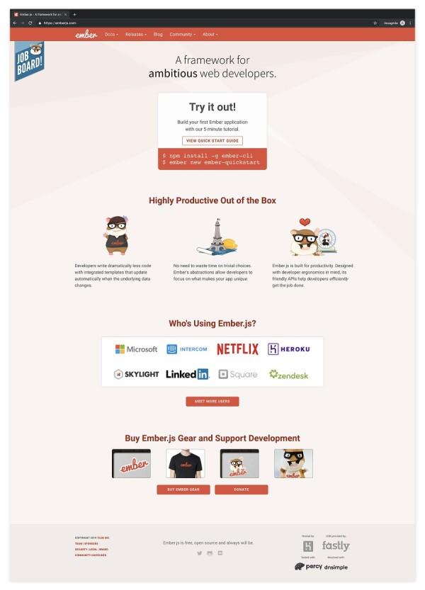Screenshot of current Ember website