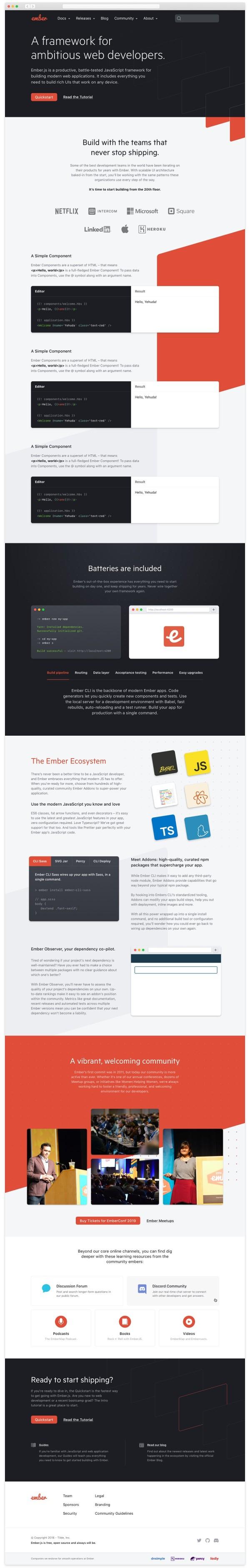 Mockup of new Ember website