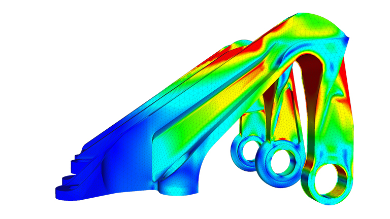 Finite element analysis of an aircraft's bearing bracket (source: SimScale)