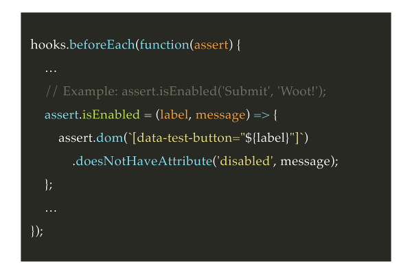 Add the custom assertion in the beforeEach hook.