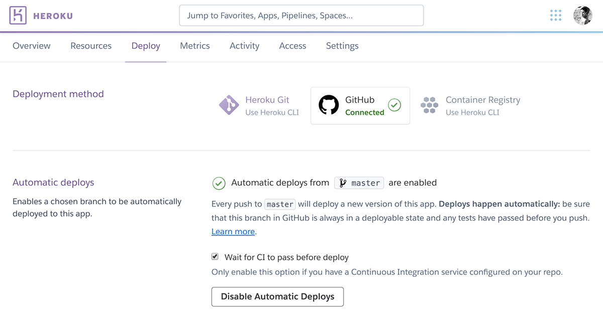 Heroku makes deploying code on GitHub simple.