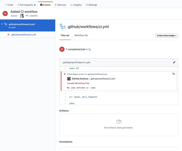 GitHub Actions alerts us we haven't defined jobs.