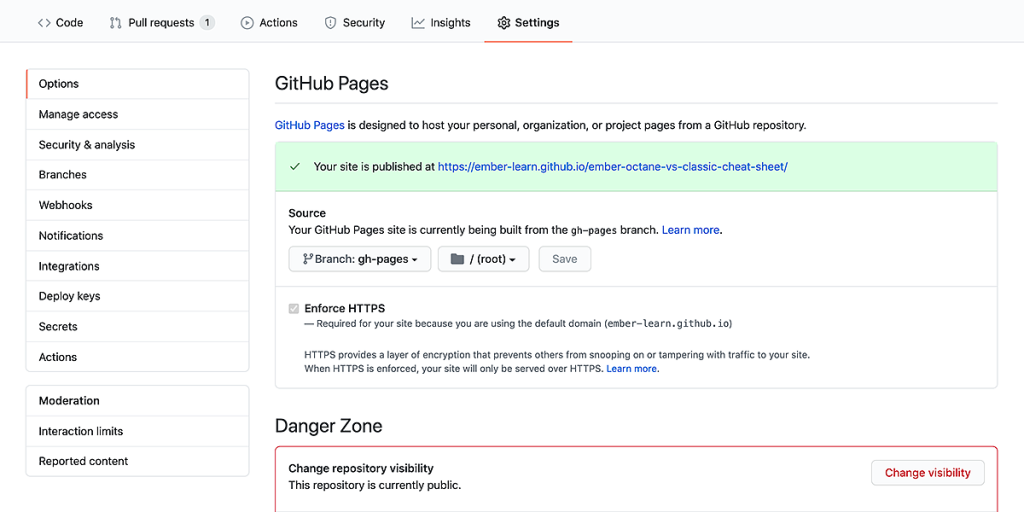 Select the deploy branch in Settings - Options - GitHub Pages.