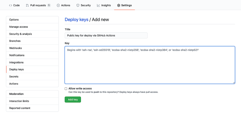 The public key goes to Settings - Deploy keys.
